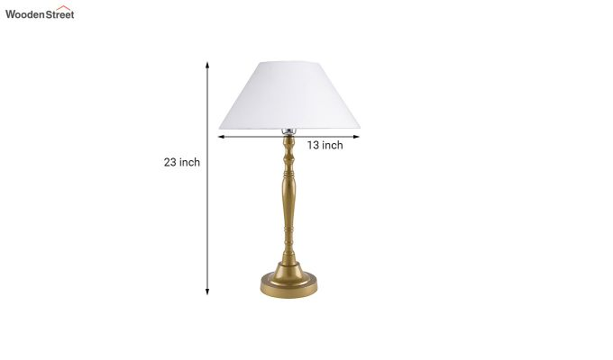 Imperial Gold Brushed White Cone Table Lamp-5