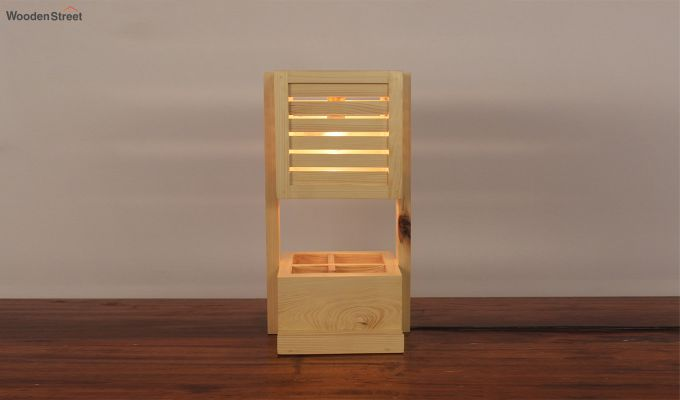 Auroville Wooden Table Lamp with Desk Organiser-4