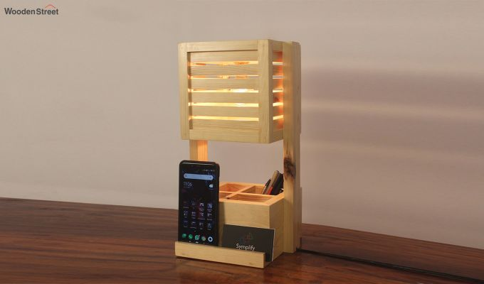 Auroville Wooden Table Lamp with Desk Organiser-1