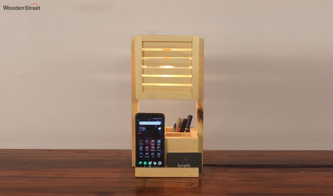 Auroville Wooden Table Lamp with Desk Organiser-2