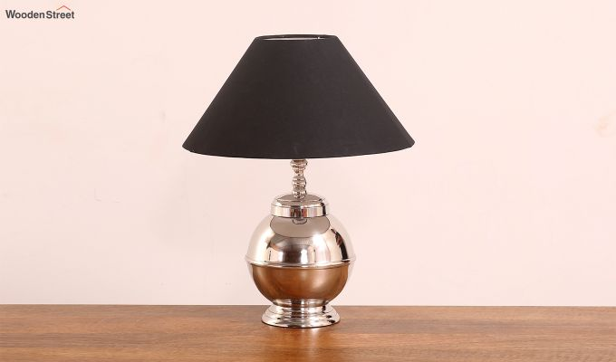Bell Silver Table Lamp with Charcoal Shade-1