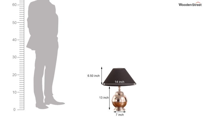 Bell Silver Table Lamp with Charcoal Shade-3