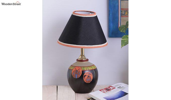 Black Madhubani Terracotta Table Lamp-2