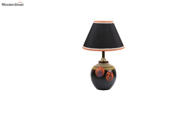 Black Madhubani Terracotta Table Lamp-3