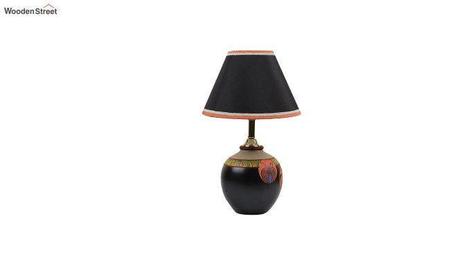 Black Madhubani Terracotta Table Lamp-4