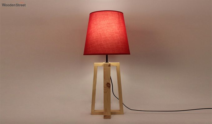 Blender Beige Wooden Table Lamp with Red Shade-1