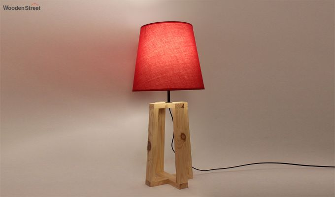 Blender Beige Wooden Table Lamp with Red Shade-2