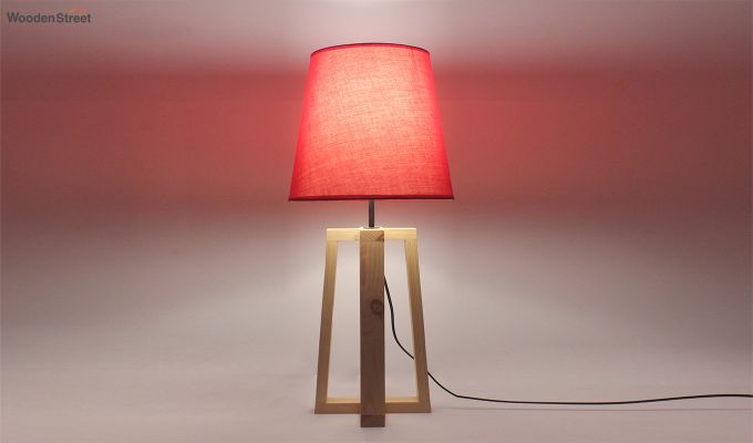 Blender Beige Wooden Table Lamp with Red Shade-3