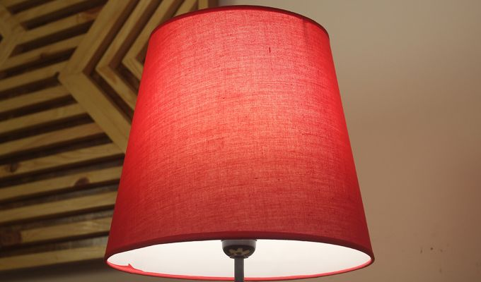 Blender Beige Wooden Table Lamp with Red Shade-4