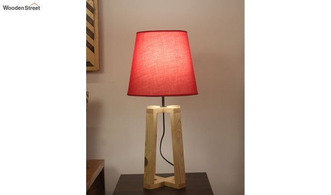 Blender Beige Wooden Table Lamp with Red Shade-5