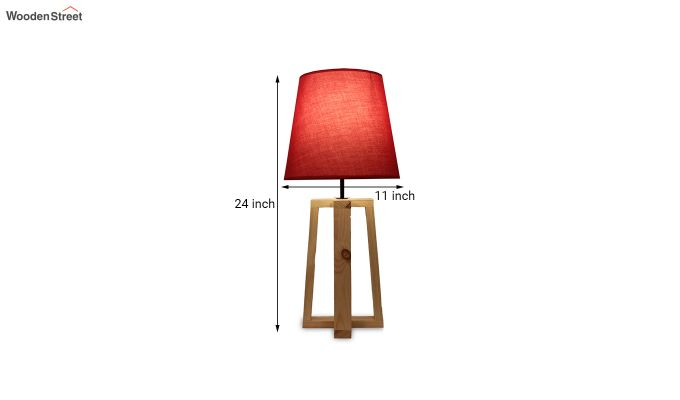 Blender Beige Wooden Table Lamp with Red Shade-6