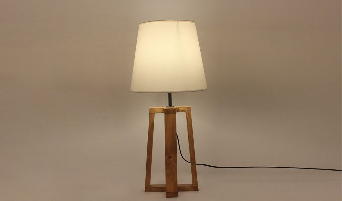 Blender Brown Wooden Table Lamp with White Shade-2