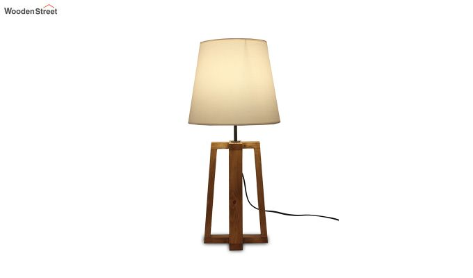 Blender Brown Wooden Table Lamp with White Shade-3