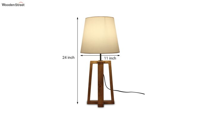 Blender Brown Wooden Table Lamp with White Shade-4