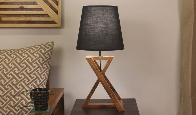 Catapult Wooden Table Lamp with Black Shade-1