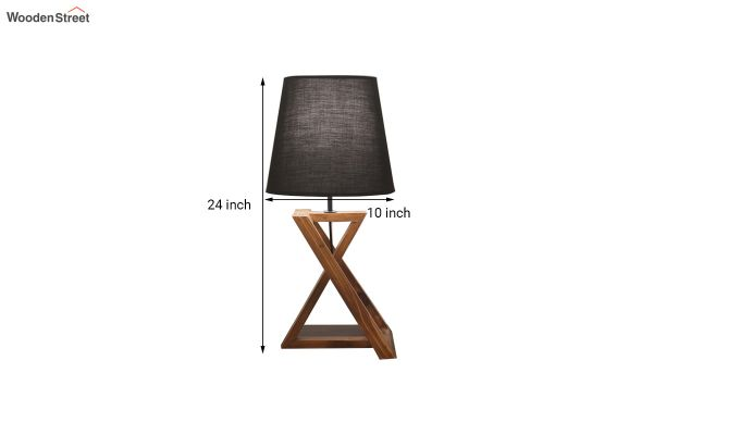 Catapult Wooden Table Lamp with Black Shade-3