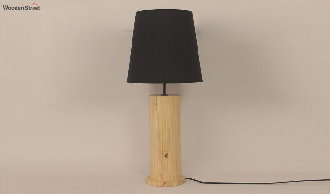 Cedar Beige Wooden Table Lamp with Black Shade-2