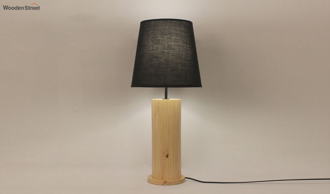 Cedar Beige Wooden Table Lamp with Black Shade-1