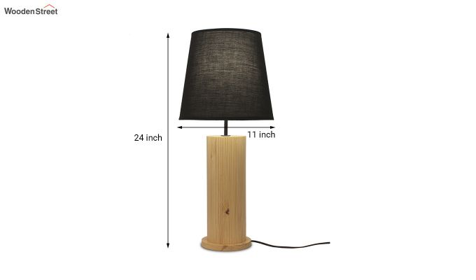 Cedar Beige Wooden Table Lamp with Black Shade-4