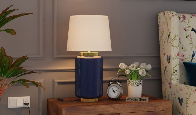 Ceres Metal Blue Table Lamp-1
