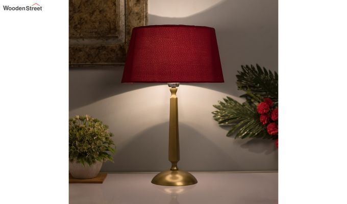 Classic Cubist Gold Brushed Red Table Lamp-1