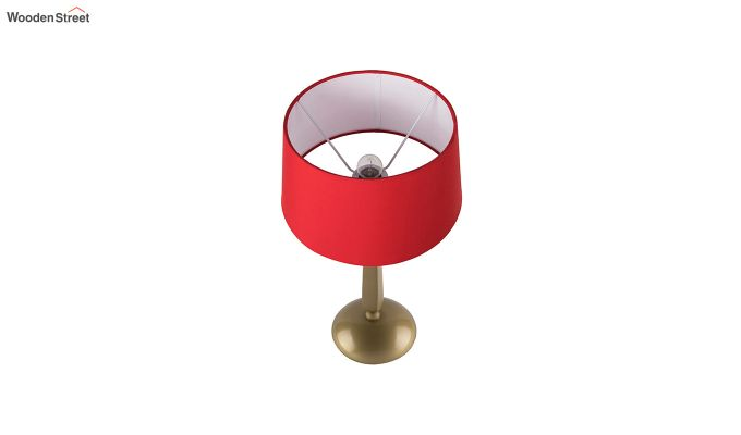 Classic Cubist Gold Brushed Red Table Lamp-3