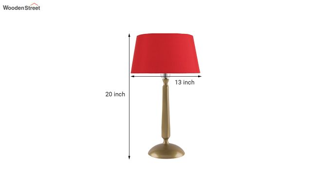 Classic Cubist Gold Brushed Red Table Lamp-5