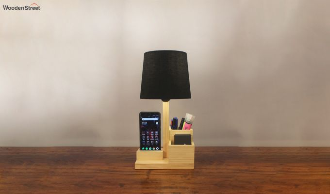 Classic Wooden Table Lamp with Desk Organiser-1