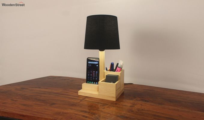 Classic Wooden Table Lamp with Desk Organiser-2