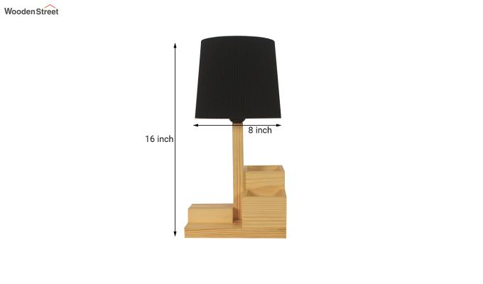Classic Wooden Table Lamp with Desk Organiser-5