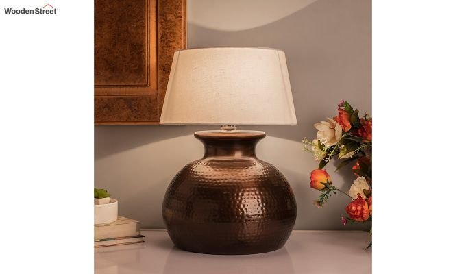 Copper Hammered Pitcher Table Lamp with White Drum Shade-1