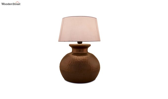 Copper Hammered Pitcher Table Lamp with White Drum Shade-2