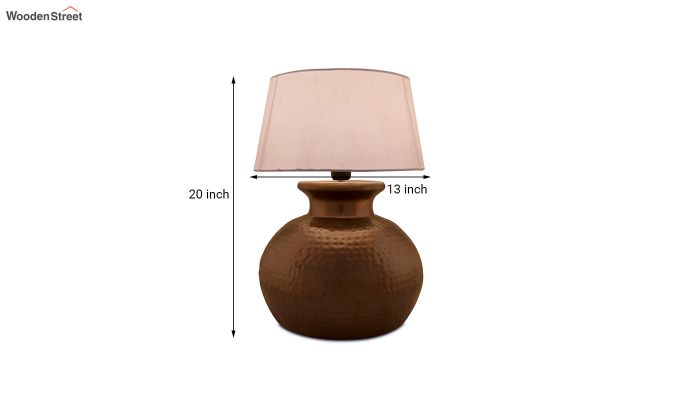 Copper Hammered Pitcher Table Lamp with White Drum Shade-5