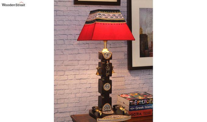 Ethnic Dhokra Warli Wooden Table Lamp-1