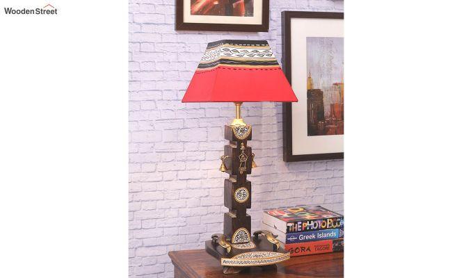 Ethnic Dhokra Warli Wooden Table Lamp-2