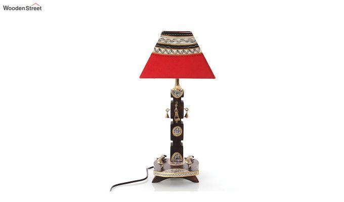Ethnic Dhokra Warli Wooden Table Lamp-3