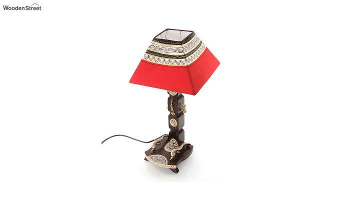 Ethnic Dhokra Warli Wooden Table Lamp-4