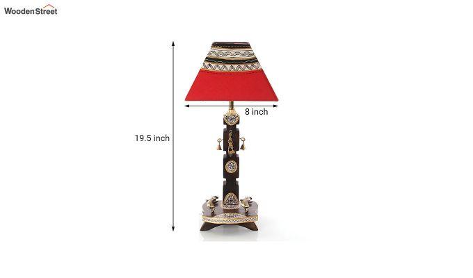 Ethnic Dhokra Warli Wooden Table Lamp-5