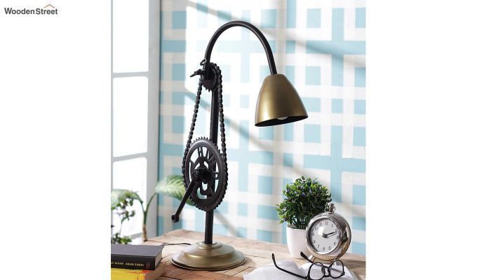 Gold Clockwork Iron Study Lamp by Grated Ginger-1