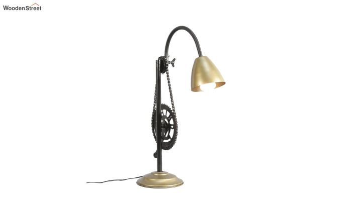 Gold Clockwork Iron Study Lamp by Grated Ginger-3