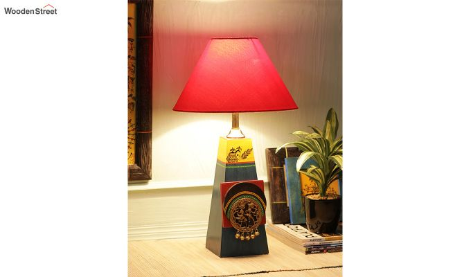 Green Bedside Wooden Red Table Lamp-1