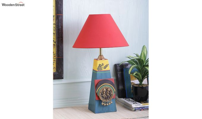 Green Bedside Wooden Red Table Lamp-2
