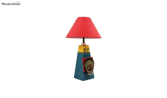 Green Bedside Wooden Red Table Lamp-4