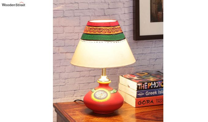 Hand Painted Flat Red Terracotta Table Lamp-1