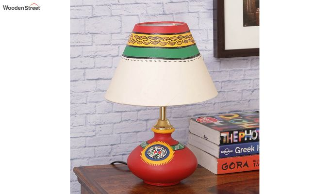 Hand Painted Flat Red Terracotta Table Lamp-2