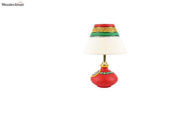 Hand Painted Flat Red Terracotta Table Lamp-4