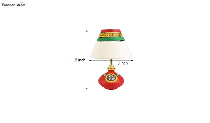 Hand Painted Flat Red Terracotta Table Lamp-6