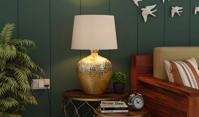 Hora Metal Golden Table Lamp with White Shade-1