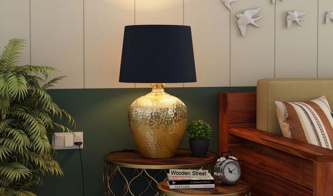 Hora Metal Golden Table Lamp with Black Shade-1