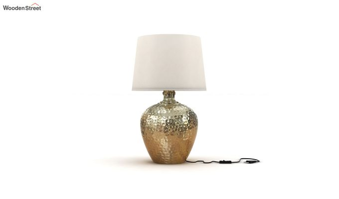 Hora Metal Golden Table Lamp with White Shade-2